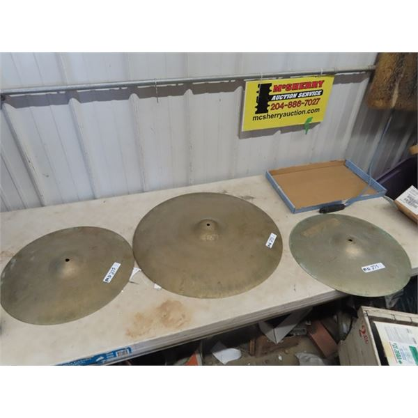 """Drum Cymbals- 2- 12"""" & 1- 18"""" Rd"""