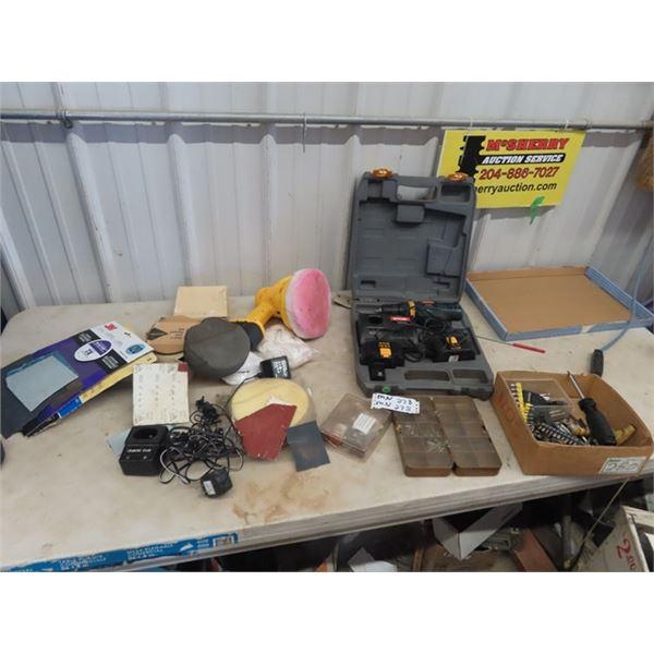 (MN) Cordless Polisher, Cordless Ryobi Drill 14.4 Volt, Screw Extractors, Dremel Accessories