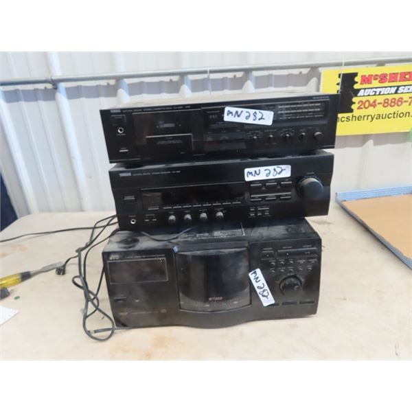 Stereo Equip- Yamaha Stereo Cassette Deck KX230 Yamaha Stereo Receiver RX 396, JVC Compact Disc Chan