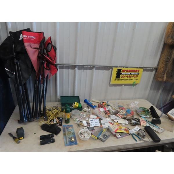 (MN) Fishing Tackle New & Used, Bushnell 10 x 25 Binoculars, Compass, 2 Folding Lawn Chairs, Reels P