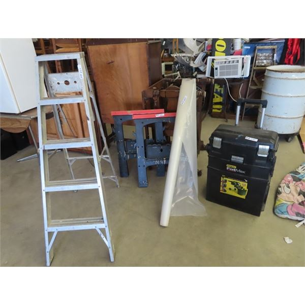 (MN) Stanley Fat Max Portable Tool Bag, 2 Poly Saw Horses, 5' Alum Step Ladder, Roll of Poly