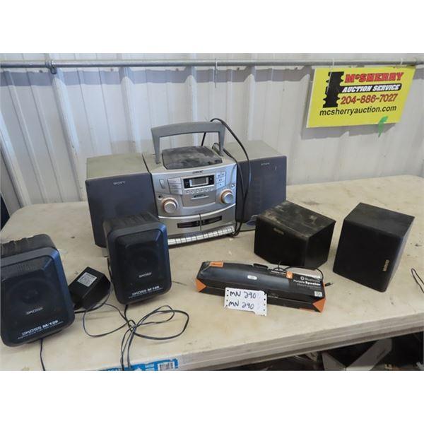 (MN) Sony CD Radio Cassette Player, Set of KOSS Speaker Amp, AWA Speaker, Blue Tooth Speaker