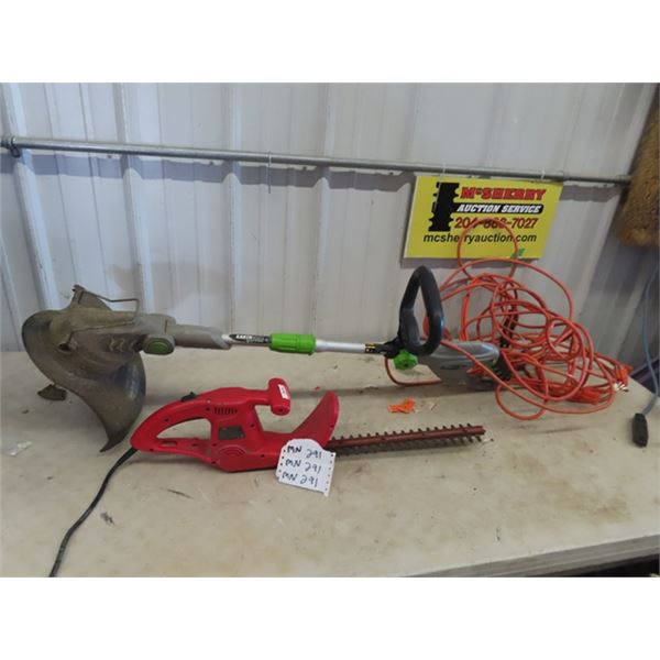 (MN) Earthwise Elec Trimmer, & Elec Hedger & 2 Ext Cords