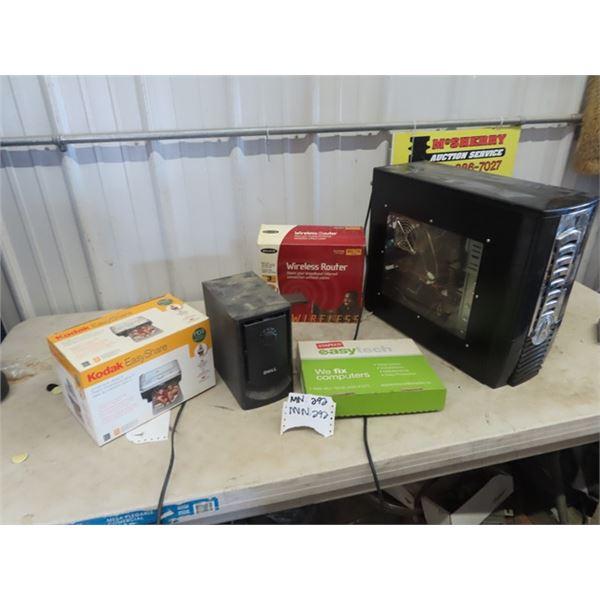 (MN) Computer Tower, Wireless Router, Dell Speaker Kodak Easy Share Printer