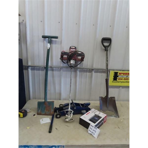 (MN) Ice Scraper, Shovel, Floor Jack, Flex Paint Power Mixer, & Millenium 40 Analyzer