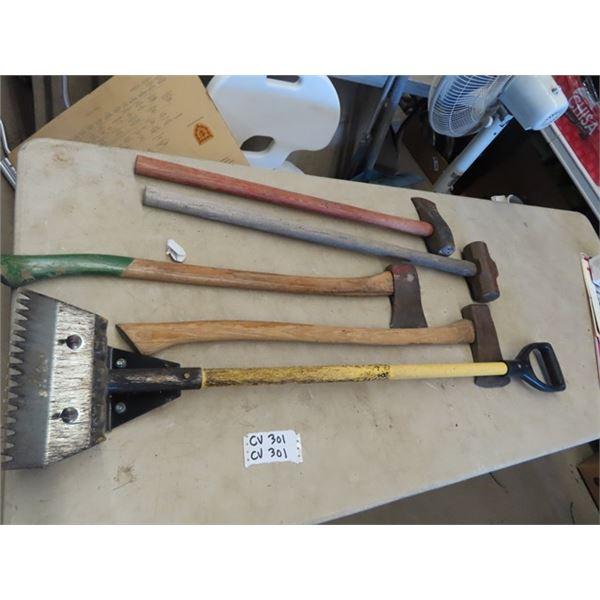 (CV) 2 Axes, Splitting Axe, Sledge Hammer, Roofing Shingle Scraper