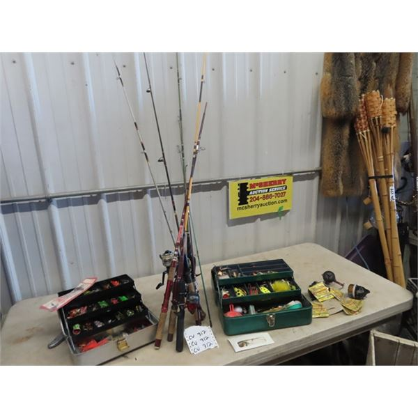 (CV) Approx 6 Fishing Reels & Rods, & 2 Tackle Boxes - Full