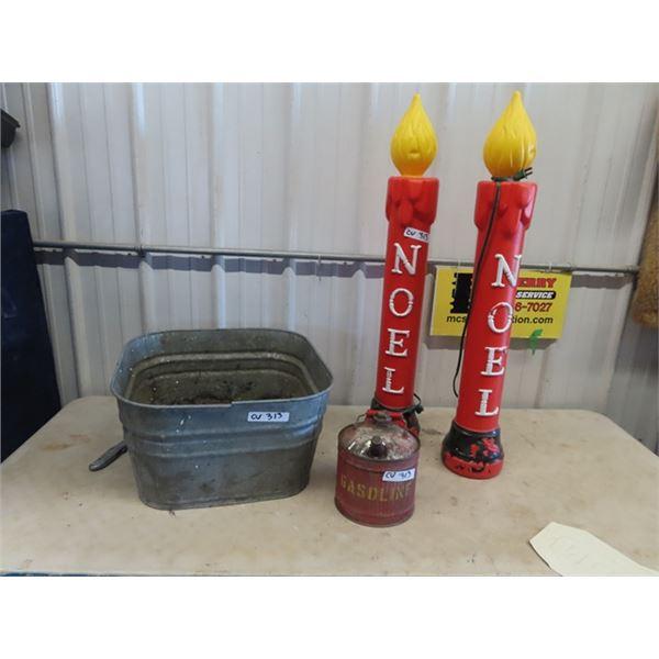 (CV) Galvanized Tub, Metal Gas Can, & 2 Outdoor Christmas Candles