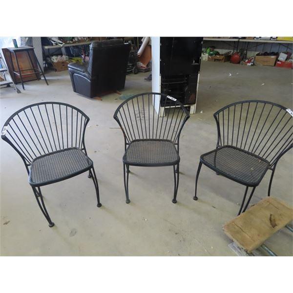 3 Metal Yard Chairs