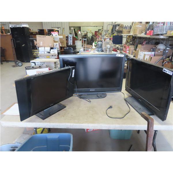 (M) 3 LCD TV- 1) Primus, 1) Emerson & 1) Toshiba NO REMOTES
