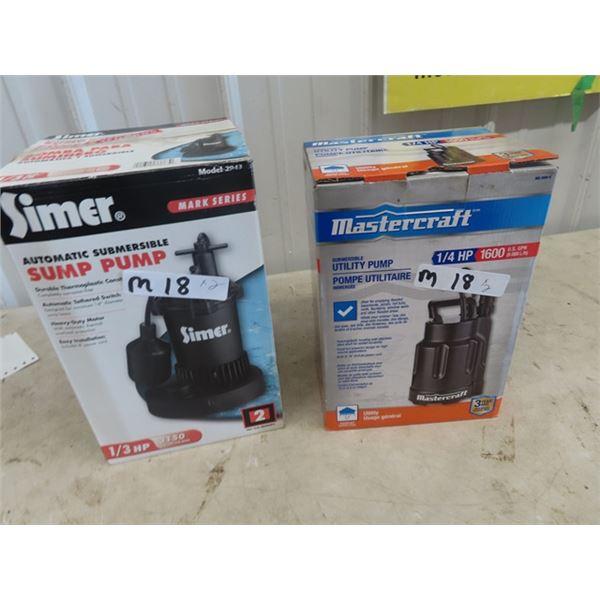 2 New Submergible Water Pumps 1) Mastercraft 1/4 HP & 1) Simer 1/3 HP