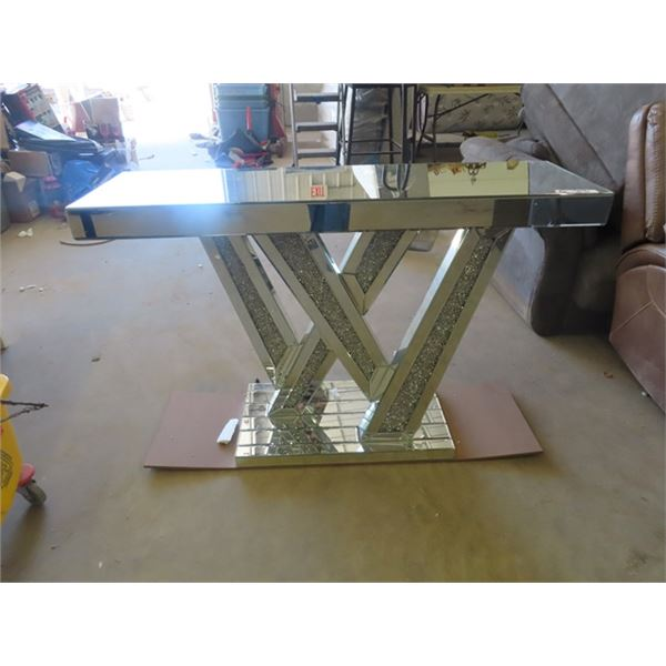 """Fancy Mirrored Stand - Good top & Sides Couple of Cracks on Base 32"""" x 47"""" x 14"""""""