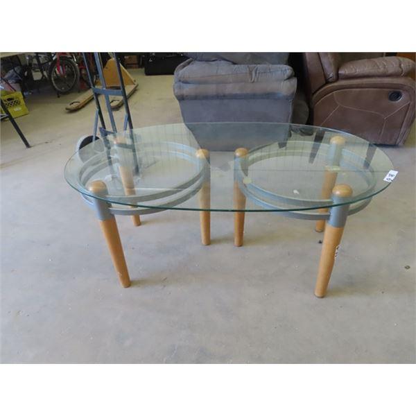 "Glass Top Coffee Table 21"" x 50"" x32"""