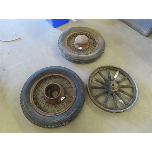 (TS) 2 Vintage Auto Wheels w Metal Spoked Rims & 1 Wooden SPoked Rim