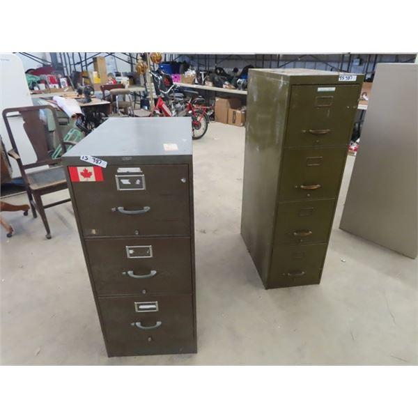 """(TS) 2 Metal Filing Cabinets 1) 51"""" x 15"""" x 28"""" 1) 42"""" x 15"""" x 28"""""""
