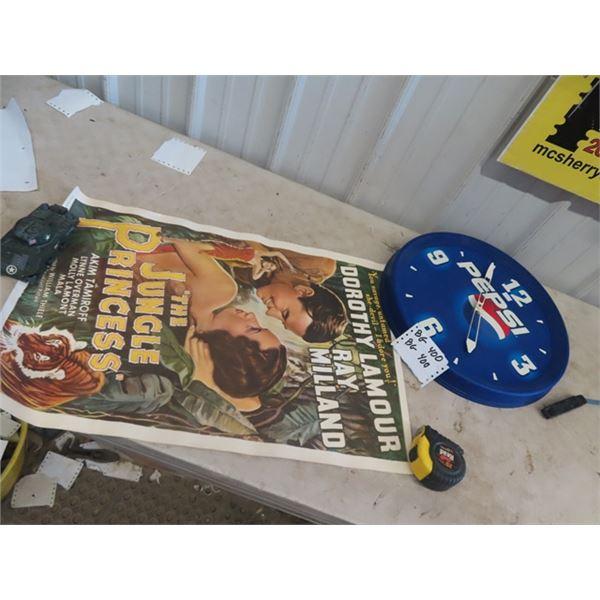 """1945 Jungle Princess Movie Poster & Pepsi Clock 18"""" RD"""