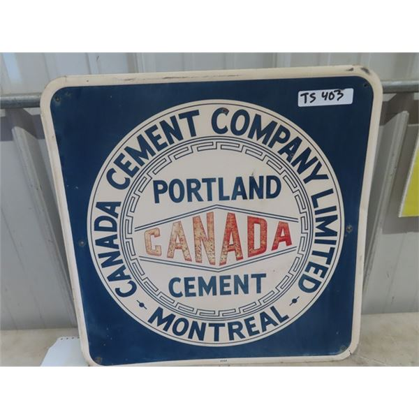 """(TS)Vintage Canada Cement Company Sign 22"""" x 22"""" Metal Embossed"""