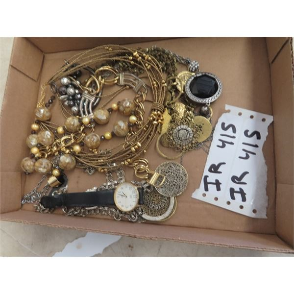Box of Mixed Fashion Jewelry - Necklaces & Watch