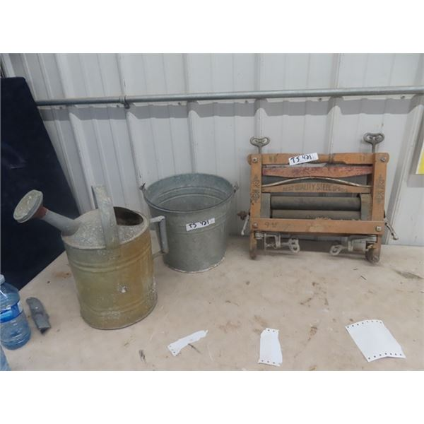 (TS) Wringer, Galvanized Pail, & Water Can