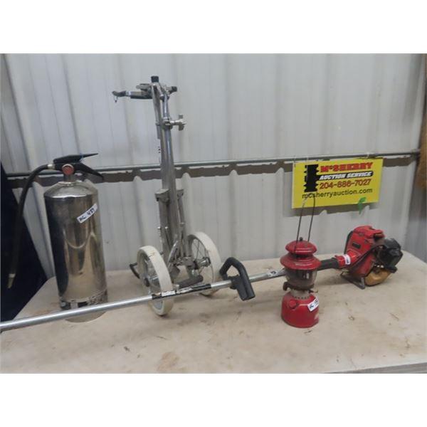 Coleman 200 Lantern, Golf Cart, Gas Weedeater, & Fire Extinguisher