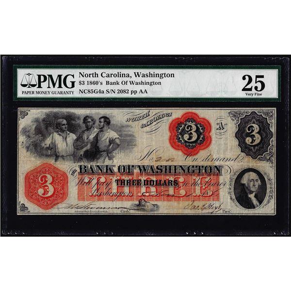 1860's $3 Bank of Washington North Carolina Obsolete Note PMG Very Fine 25