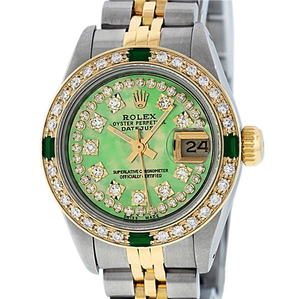 Rolex Ladies Two Tone MOP Diamond & Emerald Oyster Perpetual Datejust Watch