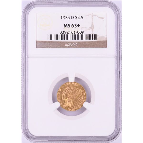 1925-D $2 1/2 Indian Head Gold Coin NGC MS63+
