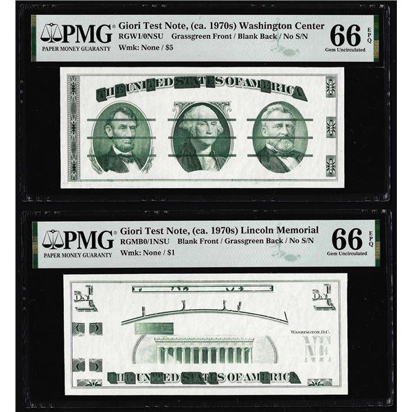 Set of Giori Test Note Washington & Lincoln Memorial PMG Gem Uncirculated 66EPQ