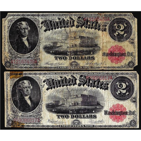 Lot of (2) 1917 $2 Legal Tender Notes