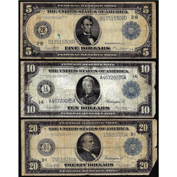 Lot of 1914 $5/$10/$20 Federal Reserve Notes