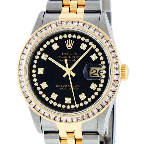 Rolex Men's Two Tone Black 2.75 ctw Princess Cut Diamond Datejust Wristwatch