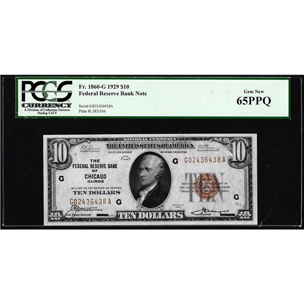 1929 $10 Federal Reserve Note Chicago Fr.1860-G PCGS Gem New 65PPQ
