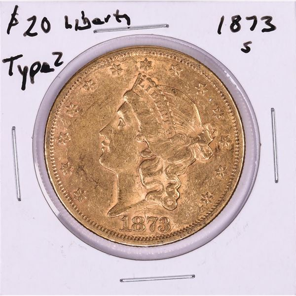 1873-S Type 2 $20 Liberty Head Double Eagle Gold Coin