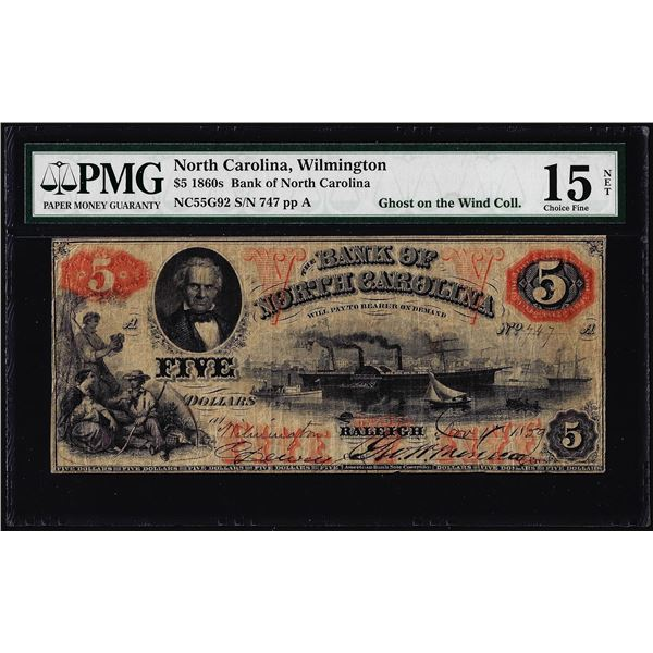 1860's $5 Bank of North Carolina Wilmington Obsolete Note PMG Choice Fine 15 Net