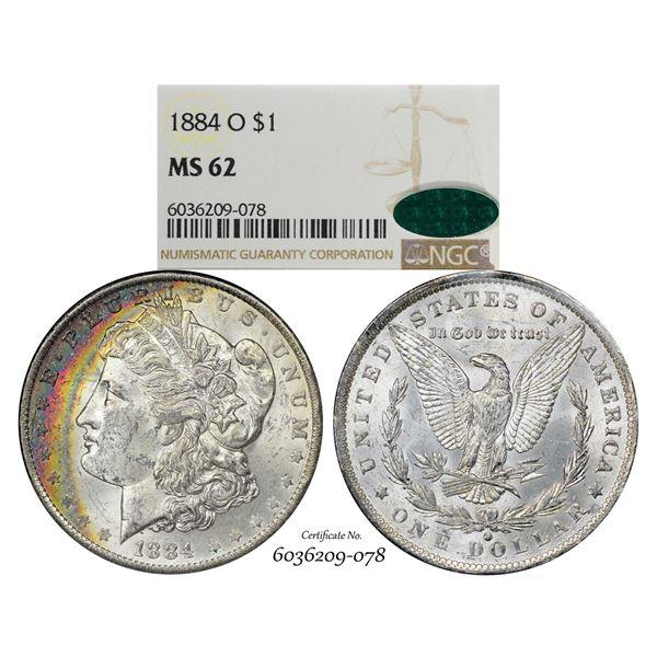 1884-O $1 Morgan Silver Dollar Coin NGC MS62 CAC Amazing Toning