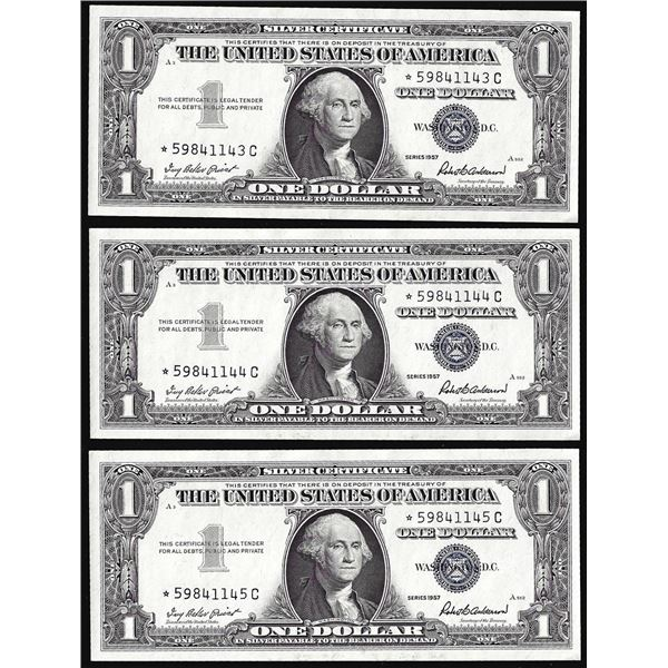 Lot of (3) Consecutive Uncirculated 1957 $1 Silver Certificate Star Notes
