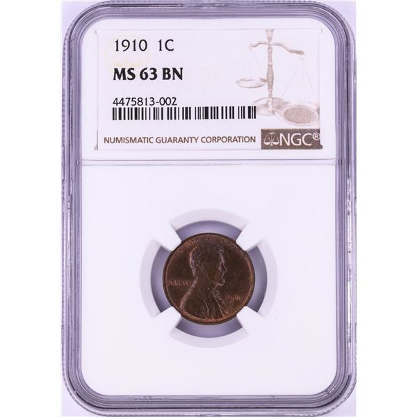 1910 Lincoln Wheat Cent Coin NGC MS63BN