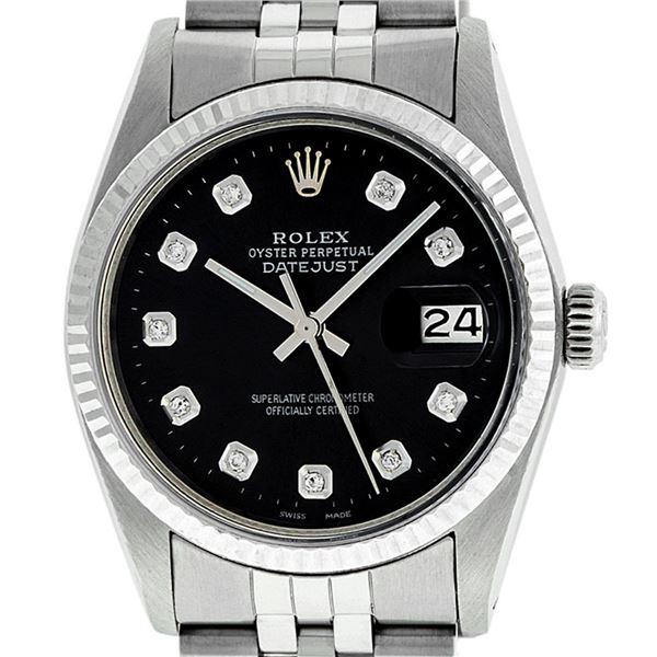 Rolex Men's Stainless Steel Black Diamond Datejust Wristwatch