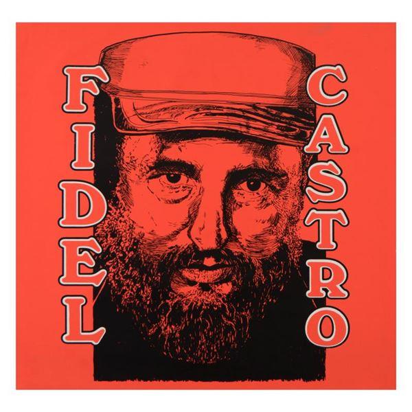 "Steve Kaufman (1960-2010) ""Fidel Castro"" Original Mixed Media On Canvas"