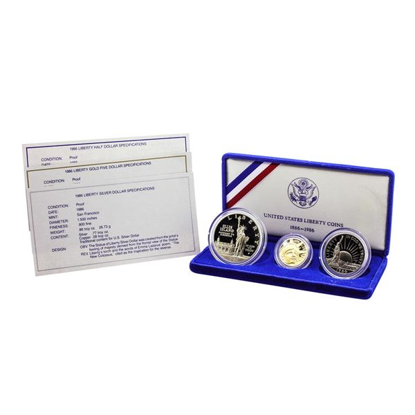1986 United Stated Liberty Commemorative (3) Coin Set with Box & COA