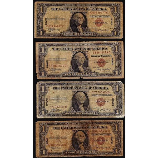 Lot of (4) 1935A $1 Hawaii WWII Emergency Issue Silver Certificate Notes