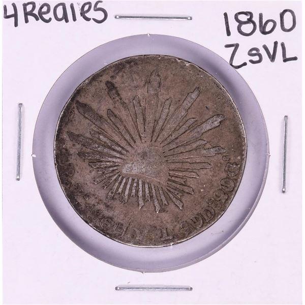 1860 ZsVL Mexico 4 Reales Silver Coin