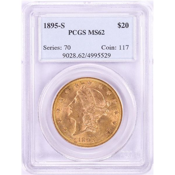 1895-S $20 Liberty Head Double Eagle Gold Coin PCGS MS62