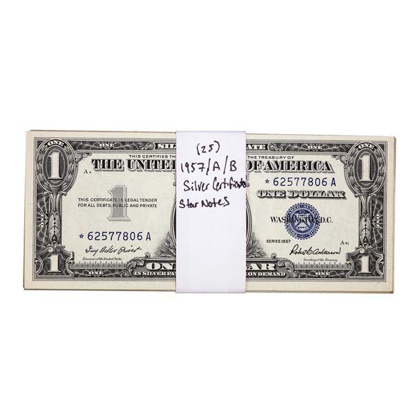 Lot of (25) 1957/A/B $1 Silver Certificate Star Notes