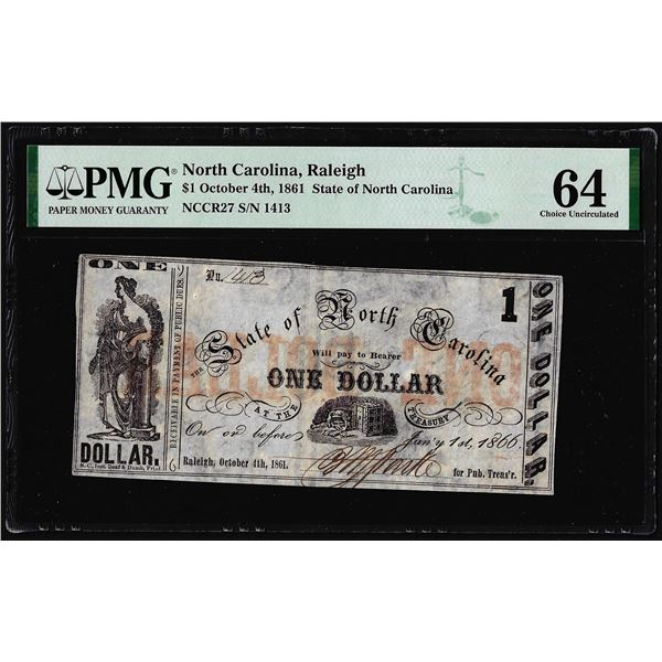 October 4th, 1861 $1 State of North Carolina Obsolete Note PMG Choice Uncirculated 64