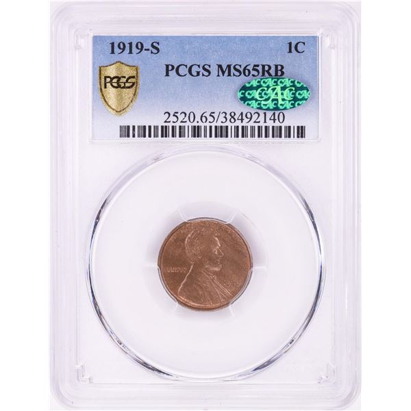 1919-S Lincoln Wheat Cent Coin PCGS MS65RB CAC
