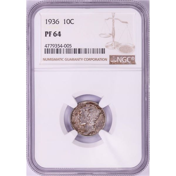 1936 Proof Mercury Dime Coin NGC PF64