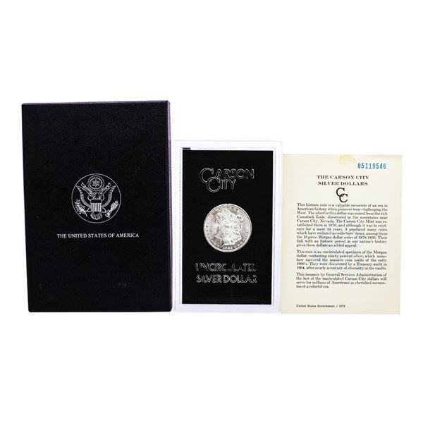 1885-CC $1 Morgan Silver Dollar Coin GSA Hoard Uncirculated with Box & COA