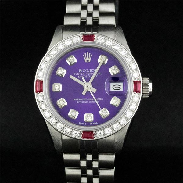 Rolex Ladies Stainless Steel Purple Diamond & Ruby Datejust Wristwatch