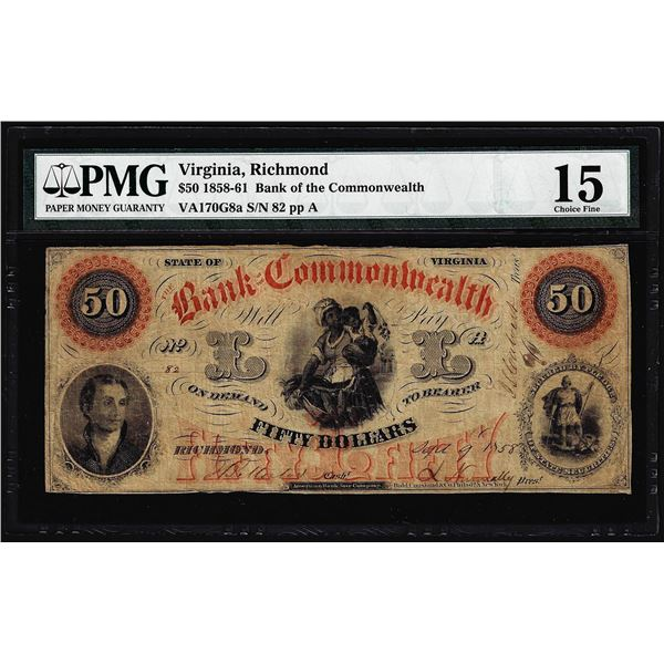 1858 $50 Bank of the Commonwealth Richmond, VA Obsolete Note PMG Choice Fine 15